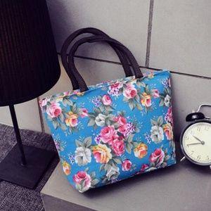 Blue Floral Shopping Shoulder \Handbag